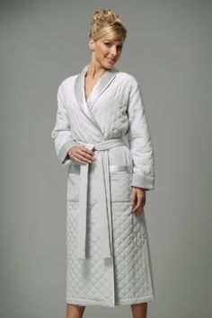 Quilted silk dressing gown from Vivis of Milan.