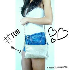 #FUN wearing a gold vegan snakeskin crossbody purse with a gold chainlink strap perfect with a white ruched tube top and cute shorts WWW.LUXEANDVAIN.COM