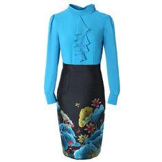 63661312ab0 Autumn Office Lady Long Sleeves Pencil Plus Size Vintage Print Floral Party  Dresses - Zaida Floral