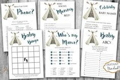 INSTANT DOWNLOAD - Boy Teepee Tribal Boho Tribal Feather BABY Games Package - Printable Shower Games - Little Chief Pow Wow Baby Shower 0441. Find more coordinating printables at JanePaperie: https://www.etsy.com/shop/JanePaperie