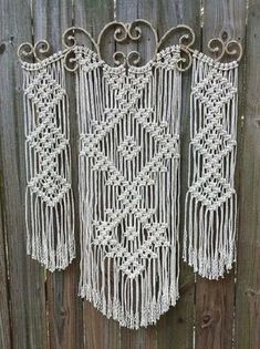 Ornamental Iron Macrame Wall Hanging | Unique Macrame Wall Hangings Ideas You Can DIY--Check out #13 Macrame Wall Hanging Patterns, Large Macrame Wall Hanging, Macrame Plant Hangers, Macrame Wall Hangings, Macrame Patterns, Macrame Owl, Macrame Knots, Macrame Curtain, Macrame Design