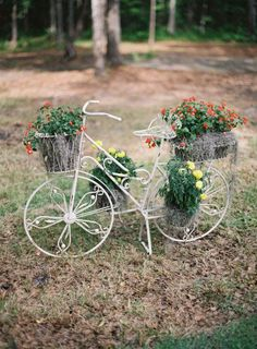 a bicycle planter decorating the reception area Photography by Virgil Bunao Fine Art Weddings / virgilbunao.com