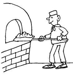 Dibujos: Panadero en horno ladrillo - Educación parvularia