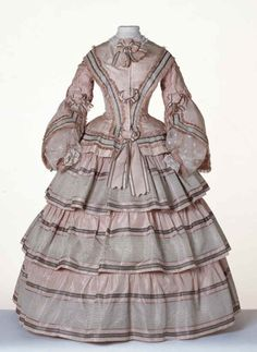 Beautiful pale pink and grey day dress, 1855, Centraal Museum. #Victorian #vintage #fashion