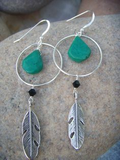 Turquoise Silver Feather Earrings – Sterling Silver Hoop Earrings – Dangle Earrings – Native American Source by Feather Earrings, Unique Earrings, Silver Hoop Earrings, Beautiful Earrings, Beaded Earrings, Earrings Handmade, Beaded Jewelry, Fine Jewelry, Jewelry Making