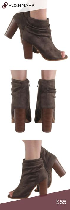 Suede Peep Toe Booties in Olive Green Super Cute Suede Peep Toe Booties! These booties can go with any outfit. They are perfect to wear to the office with your favorite business attire or worn with a pair of jeans to you regular happy hour spot. Shoes Ankle Boots & Booties