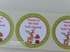 Etiquetas redondas Papai Noel e Rena  :: flavoli.net - Papelaria Personalizada :: Contato: (21) 98-836-0113 - Também no WhatsApp! vendas@flavoli.net