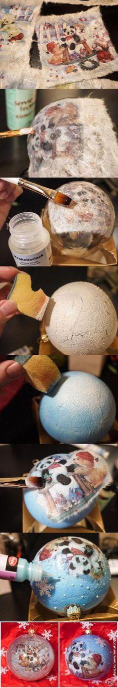 Декупаж - Сайт любителей декупажа - DCPG.RU   Одношаговый кракелюр и декупаж на новогоднем шарике