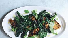 Grilled Eggplant and Greens with Spiced Yogurt | Bon Appetit Recipe