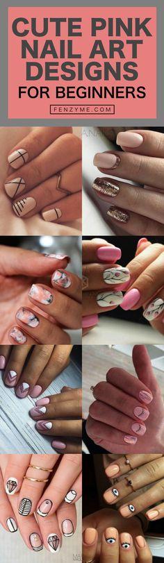 70 Cute Pink Nail Art Designs for Beginners Cute Pink Nails, Pink Nail Art, Cute Nail Art, Beautiful Nail Art, Pretty Nails, Easy Nails, Simple Nails, Fun Nails, Nail Polish Trends