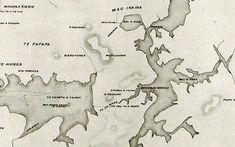 This map centres on Te Tō Waka, the canoe portage between the Tāmaki River and the Manukau Harbour. Maungakiekie on the top left is One Tree Hill. Auckland War Memorial Museum Tamaki Paenga Hira