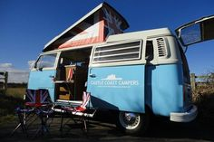 169 instead of 395 for a weekend or midweek VW campervan hire from Castle Coast Campers - save Two Man Tent, Vw Campervan Hire, Motorhome Hire, Washing Up Bowls, Tent Awning, Last Holiday, Combi Vw, Gas Fires, Commercial Vehicle