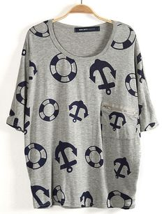 Grey Nautical Print T-Shirt