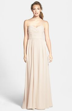 ML Monique Lhuillier Bridesmaids Monique Lhuillier Bridesmaids Strapless Ruched Chiffon Sweetheart Gown available at #Nordstrom