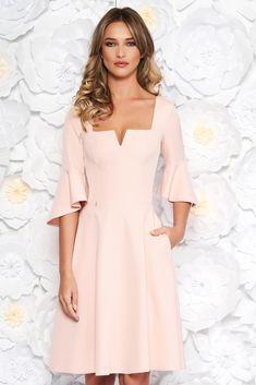 Peach StarShinerS office midi cloche dress soft fabric with ruffled sleeves, flaring cut, 3/4 sleeves, soft fabric, Ruffled sleeves