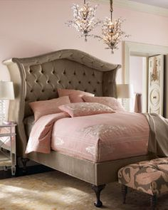 Fluffy Clouds Of Pink Cotton Candy Don T You Just Want To Dive Into This Bed Pastel And Cream Bedding Photo Is A Horchow Set