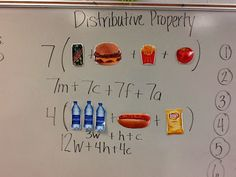 Distributive Property: solving real world problems Math Teacher, Math Classroom, Teaching Math, Teacher Stuff, Classroom Ideas, Math Literacy, Classroom Projects, Numeracy, Literacy Centers