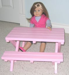 Doll Picnic Table for American Girl Doll or by paynestdollboutique, $55.00