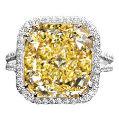 10.04 Carat Fancy Yellow Radiant Cut Diamond Engagement Ring | From a unique collection of vintage engagement rings at https://www.1stdibs.com/jewelry/rings/engagement-rings/