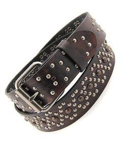 Look what I found on #zulily! Black Black & Silver Metal Circle Stud Belt by Galaxy Belts #zulilyfinds