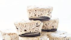 Mini cookies-and-cream cheesecakes, with a whole Oreo™ for the crust. We've lost our cookies! (Or, actually, we've found the only cookie we'll ever need to eat for the rest of our lives.)