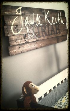 Baby Name Wall Hanging. Visit us on Facebook at Rustic Country Designs JS!