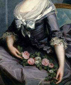 Portrait of Marie-Louise of Savoy, Princess de Lamballe (detail), by Antoine-Francois Calle, 18th century. Oil on canvas.