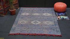Faded blue Berber kilim 5x6 Vintage Blue Flat woven Wool Blue