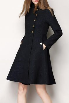 Jacquard Single Breasted Skirted Coat