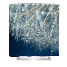 Blue Dandelion Dew by Kaye Menner Shower Curtain by Kaye Menner