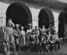 Iroquois group including William Red Cloud (standing far left), and William Henry Fish Carrier (sitting far right), while attending the Pan-American Exposition in Buffalo, New York - 1901