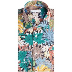 Etro Palm Print Cotton Button Down ($450) ❤ liked on Polyvore featuring men's fashion, men's clothing, men's shirts, men's casual shirts, multicolor, mens casual long sleeve button down shirts, mens button down shirts, mens graphic t shirts, mens print shirts and mens button up shirts