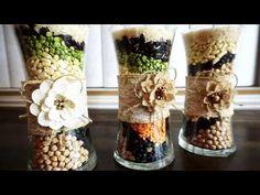 Como hacer una decoracion de granos - YouTube Jar Centerpiece Wedding, Jar Centerpieces, Voss Bottle, Water Bottle, Feng Shui, Diy Crafts, Crochet, Youtube, Christmas Decor