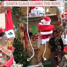 This ladder climbing Santa is a perfect companion to any Christmas tree! If you're looking for Santa that will bring some more spark to your home and Christmas tree - Look No More! the roof Climbing Ladder Santa Claus! Christmas Gift For You, Christmas Time, Christmas Crafts, Christmas Ornaments, Xmas, Funny Christmas Tree, Simple Christmas, Christmas Presents, Office Christmas Decorations