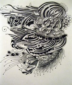This tangle was done by ledenzer.  I just love this artist's tangles.  They are all so ornate with such movement and flow.