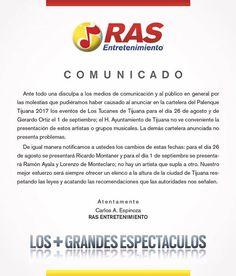 Sobre la cancelación de las presentaciones de Los Tucanes de Tijuana y Gerardo Ortiz en el Palenque se comunica lo siguiente: