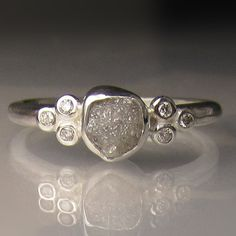Raw Diamond Ring Recycled Sterling Silver Rough by artifactum