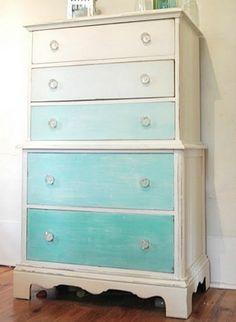 Multicolored teal > white dresser