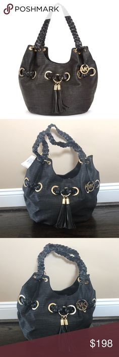 """✨NWT✨ Michael Kors Large Black Straw Grommet Bag NWT. Authentic Michael Kors braided grommet large shoulder straw tote. Black with gold hardware. Snap closure. Interior has 1 zip pocket and 2 cell pockets. 12.5""""x7""""x10"""". ***No Trades*** MICHAEL Michael Kors Bags Shoulder Bags"""