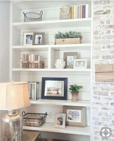 Awesome Rustic Farmhouse Brick Fireplace Rustic Farmhouse Brick Fireplace - Awesome Rustic Farmhouse Brick Fireplace , Living Room Design Rustic Awesome Built In Bookshelves Styling Home Living Room, Living Room Designs, Living Room Decor, Living Room No Fireplace, Apartment Living, Rustic Fireplace Decor, Farmhouse Fireplace, Fireplace Shelves, Fireplace Mantle
