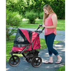 AT3 No-Zip Pet Stroller - Rugged Red  15% Discount - Use code DOGGIE at Checkout   http://www.gingersdoggieheaven.com #PetStrollers 15% Discount - Use code DOGGIE at Checkout