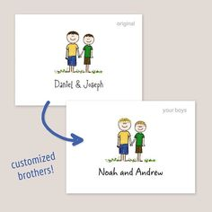Two Brothers Folded Note Card by Amy Adele Kids Stationery, Custom Stationery, Personalized Stationery, Stationery Design, Personalized Gifts, Note Cards, Thank You Cards, How To Fold Notes, Two Brothers