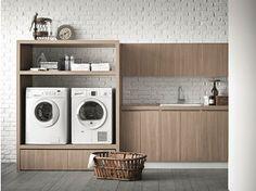 Elm laundry room cabinet for washing machine IDROBOX Idrobox Collection by Birex Laundry Room Cabinets, Laundry Room Organization, Laundry Storage, Laundry Room Design, Closet Storage, Storage Cabinets, Interior Design Living Room, Living Room Designs, Small Space Storage