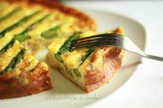 Shrimp and asparagus quiche...yum! Easy and light summer dinner idea!