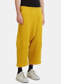 Anntian Asymmetrical Cropped Honeycomb Pants