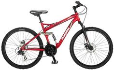 Have a look at this Mongoose Stasis Comp 26-Inch Full Suspension Mountain Bicycle, Matte Red, 18-Inch Frame