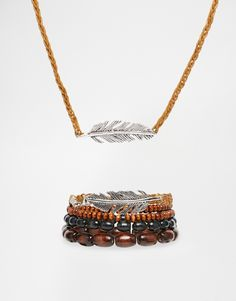 ASOS Beaded Necklace And Bracelet Pack With Feather