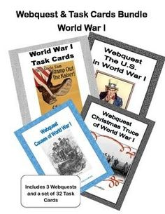 This collection is designed to give students historical background knowledge about World War 1 including the events leading up to it. This includes 3 WebQuests and a set of task cards that are offered in my store separately. The collection includes: World War 1 Task Cards, Webquest-Christmas Truce of World War 1, Webquest-Causes Leading to World War 1, Webquest-The United States in World War 1. If purchased separately $7.00 Offering it at a $5.00
