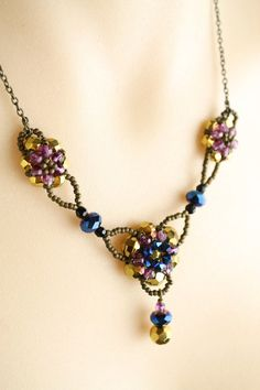 Vintage Style Beaded Necklace in Gorgeous Blue, Gold & Purple Tones. Made by me