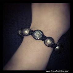 10mm Grey Austrian Crystal Bead Shamballa Style Bracelet. SALE $28